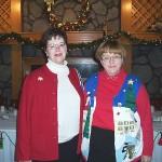 Miriam & Charlene, sisters, Christmas Luncheon, 2005