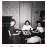 Sharon & Susie Krueckeberg, Diane Boenher, 1962. Gr-child/o Cornelius & Hilda (Scaer) Schumm.