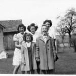 Back: Esther (Schumm) Krueckeberg, Ella (Roehm) Thieme, Florence (Schumm) Miller. Front: Mary (Schumm) Grote, Helen (Roehm) Schwartz.