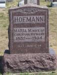 Tombstone of Maria M (Schinnerer) Hofmann, Evangelical Protestant Cemetery, Van Wert County, Ohio.