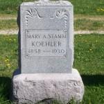 Mary Stamm Koehler, Zion Lutheran Cemetery, Schumm, Van Wert County, Ohio.