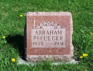Abraham Pflueger, Zion Lutheran Cemetery, Schumm, Van Wert County, Ohio. (2012 photo by Karen)