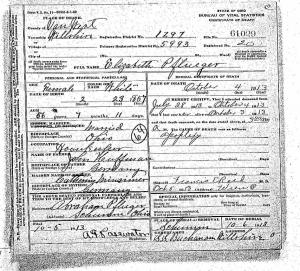 Elizabeth Pflueger death certificate, 1913.