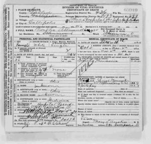 Bertha Allmandinger Ohio death certificate, 1930.