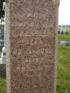 Marie Kessler inscription, north side of stone. (2013 photo by Karen)