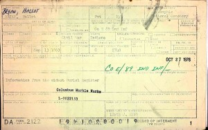 Hallot Bryan Interment Card, Memphis National Cemetery.