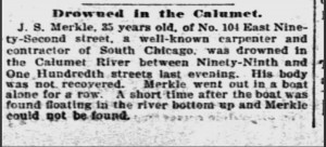 John Merkle drowning, 1895