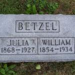 William & Julia Betzel, Zion Lutheran Cemetery, Mercer County, Ohio. (2011 photo by Karen)