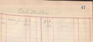 Carl Miller, 1921-23 Vining & Dull Store ledger.