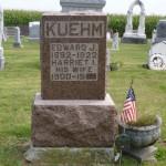 Edward J Kuehm & Harriet I, Zion Lutheran Cemetery, Chattanooga, Mercer County, Ohio. (2014 photo by Karen)