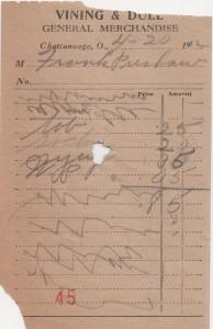1922 Vining & Dull receipt.