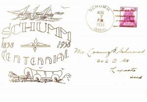 1938 Schumm postmark.