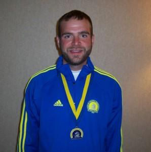 Jeff with Boston Marathon medal, 2009.