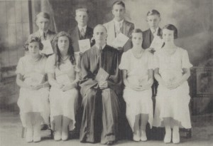 Zion Chatt's 1933 Confirmation Class, front, L to R: Ruth Miller, Lois Heffner, Rev. Carl Yahl, Imogene Reef, Naomi Reef. back: Ray Schott, Carl Hunziker, Vernon Becher, Leroy Bollenbacher.