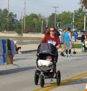 Erin and Chloe finishing 10K, Grand Lake Marathon, 2014.
