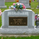 Ray A. Schott, Decatur Cemetery, Adams County, Indiana. (2014 photo by Karen)