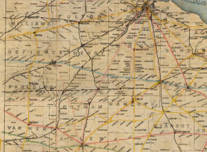 1914 Railroad map of northwest Ohio.