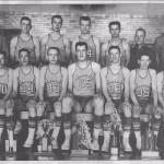 1955-56 Bearcats, front: Larry Huston, Paul Bollenbacher, Joe Clase, Gary Kesler, Larry Miller, Dave Byer. back: Don Jones, Supt; Bob Lucas, Bud Marbaugh, Boyd Hey, Jim Krueckeberg, Jerry Dennis, mgr; Jim Finch, coach Bob Games.