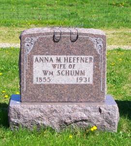 Anna M. Schumm, Zion Lutheran Cemetery, Schumm, Van Wert County, Ohio. (2012 photo by Karen)