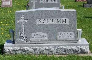 Paul E. & Lydia B. (Schumm) Schumm, Zion Lutheran Cemetery, Schumm, Van Wert County, Ohio. (2012 photoby Karen.