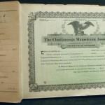 Chattanooga Mausoleum Association certificate book with stubs.