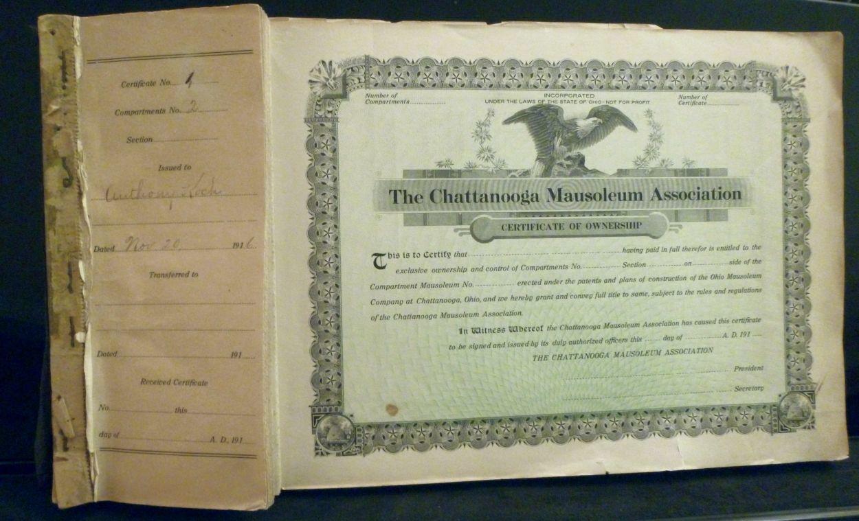 Chattanooga Mausoleum Association Certificates And Stubs