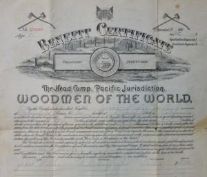 Jacob Miller Jr Woodman of the World certificate, 1911.