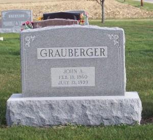 John A. Grauberger, Zion Lutheran Cemetery, Chattanooga, Mercer County, Ohio. (2014 photo by Karen)