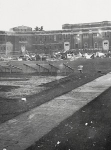 Courtyard at Lima State Hospital during the filming of Attica, 1979.