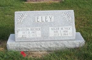 Alger & Matilda (Becher) Eley, Zion Lutheran Cemetery, Chattanooga, Mercer County, Ohio. (2011 photo by Karen)