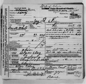 Joy I. Eley death certificate