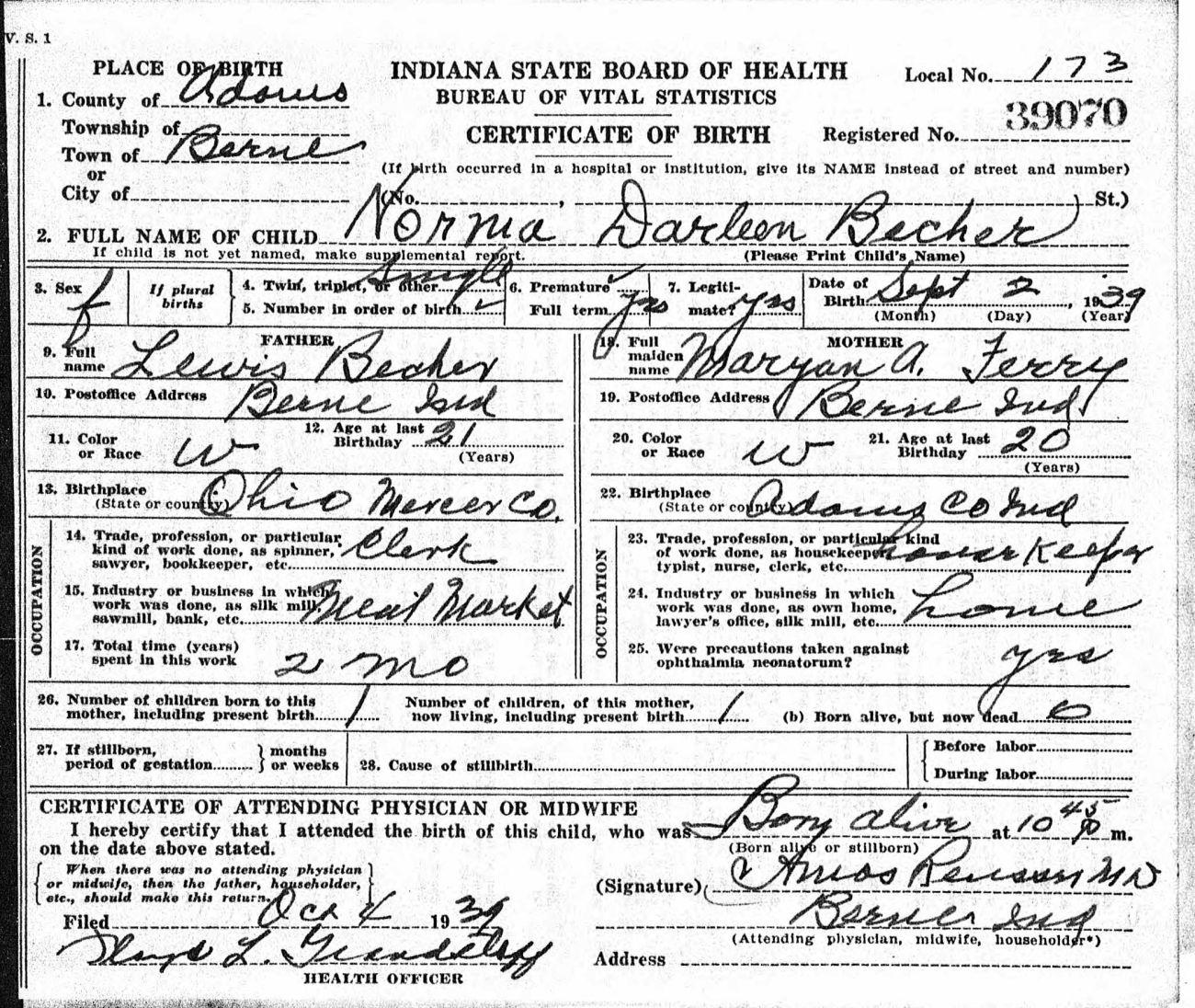 Tombstone tuesdaydarleene becher karens chatt darleene becher birth certificate 1 aiddatafo Choice Image