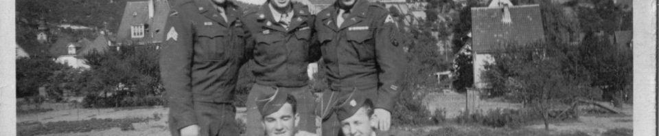 Sgt. Fenn, Cpt. McGee, Sgt. Mueller, Cpl Thornton, Herb Miller; Schriesheim, Germany 1945.